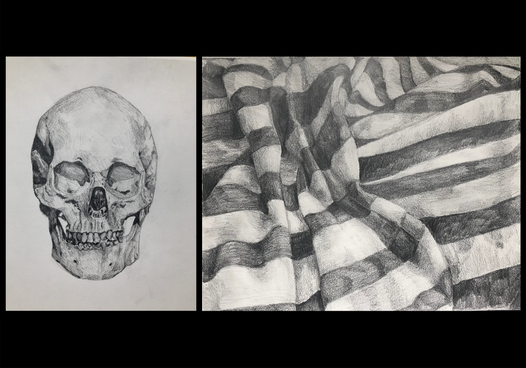 Frontal Skull & Striped Drawing