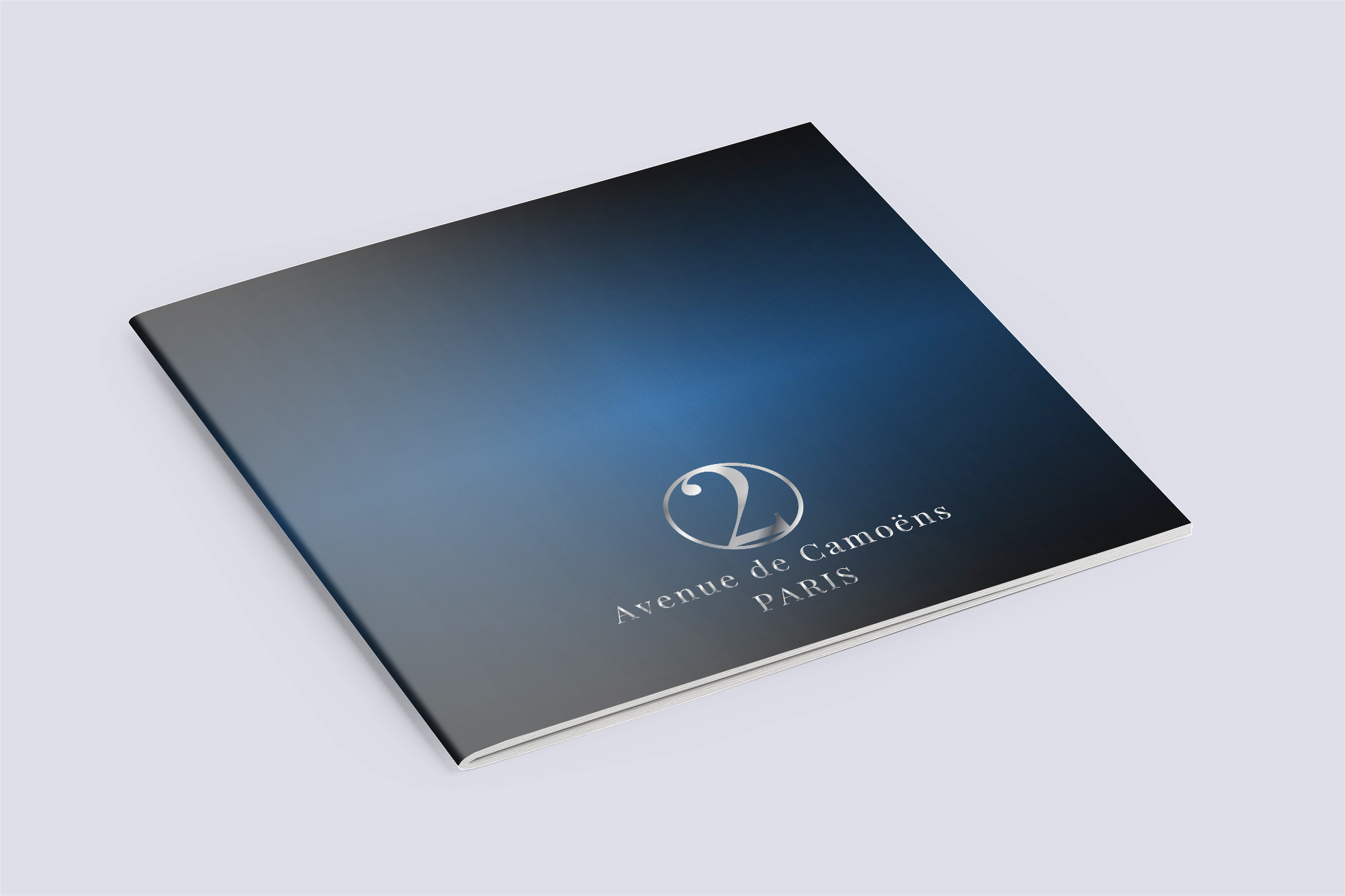 Blue Background Paris Brochure Mock Up