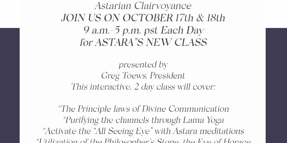 The All-Seeing Eye; Astarian Clairvoyance