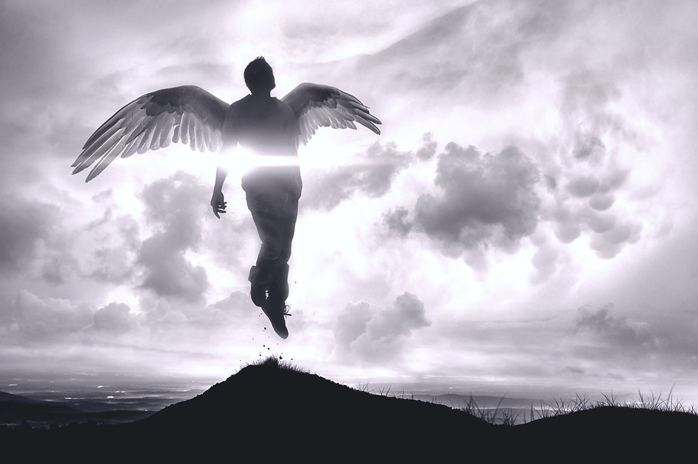 Canva - Angel or Floating Man Rises to N