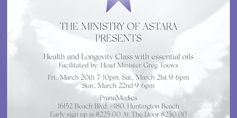 Health & Longevity Class w/Essential Oils: Live Streaming Special Talk Friday 7:30-9 p.m. Pacific Standrd Time