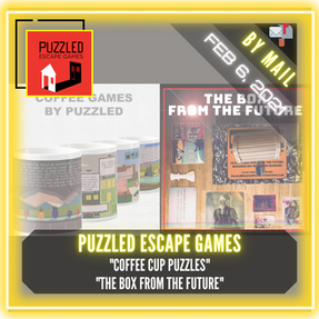 "Puzzled Escape Games - ""Coffee Cup Puzzles"" and ""The Box from the Future"""