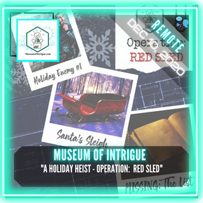 "REMOTE:  Museum Of Intrigue - ""A Holiday Heist - Operation:  Red Sled"""