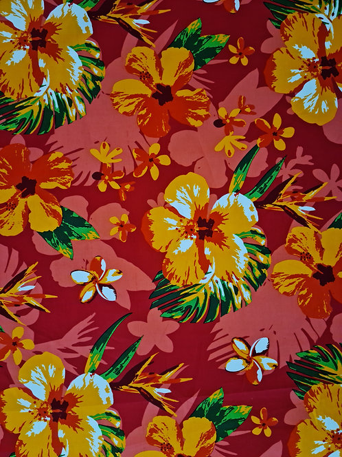 Hibiscus Floral Cotton Print Red