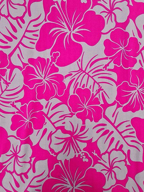 Two Tone Hibiscus Rayon Pink/Grey