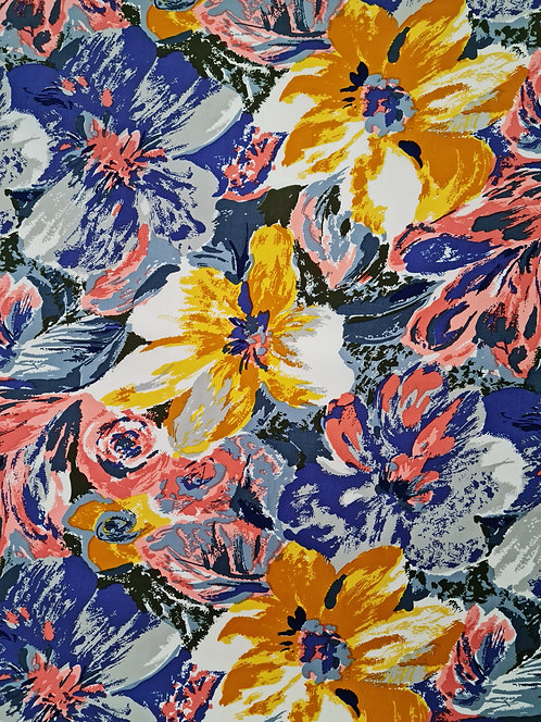 Painted Floral Cotton Lilac/Mustard