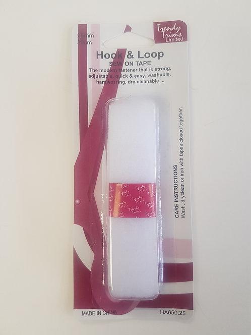 Velcro Hook & Loop Sew On White