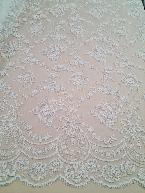 Rosa Embroidered Allover Tulle Ivory