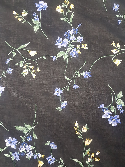 Bluebell Print Cotton Voile Black