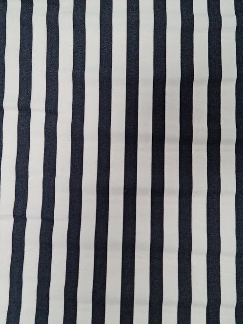 Stretch Cotton Stripe Navy/White
