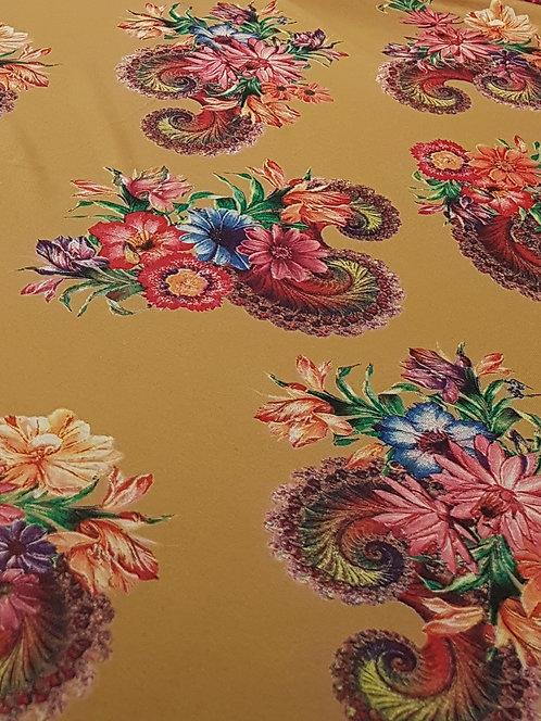 Baroque Paisley Viscose Knit.. Mustard