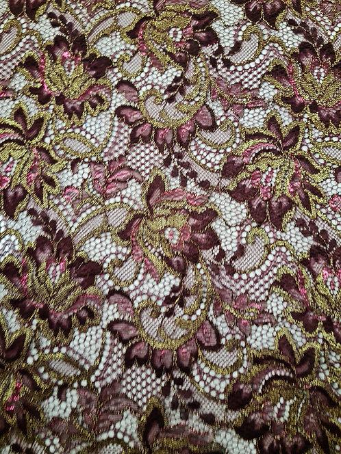 Designer Prints Lurex Chantilly Lace Burgandy/ Gold