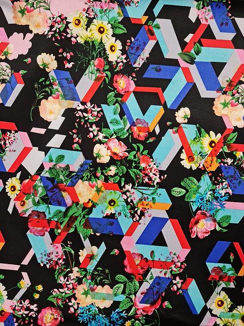 Hex Floral Cotton Sateen Black Background