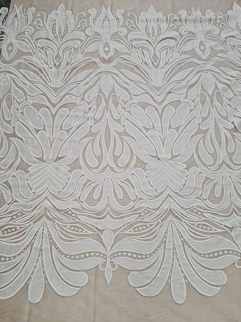 European Cut Out Designer Tulle Light Ivory