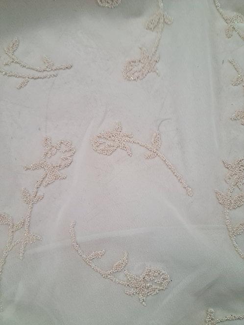 Designer Prints Embossed Georgette Cream