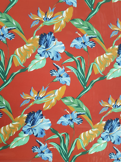 Hibiscus Floral Polyester Chiffon