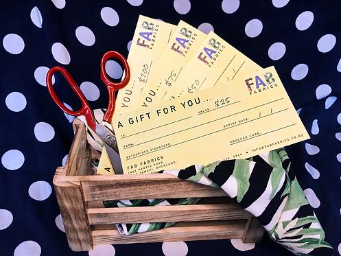 FAB Fabrics Gift Vouchers - $25, $50, $75, $100