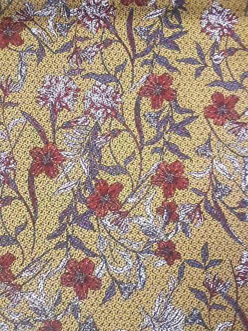 Autumn Daze Floral Rayon Mustard