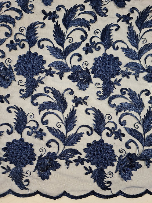 Chrysanthemum Embroidered & Sequin Tulle Navy