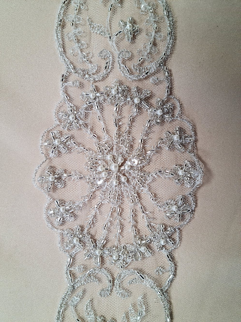 Beaded Trim 8cm Ivory