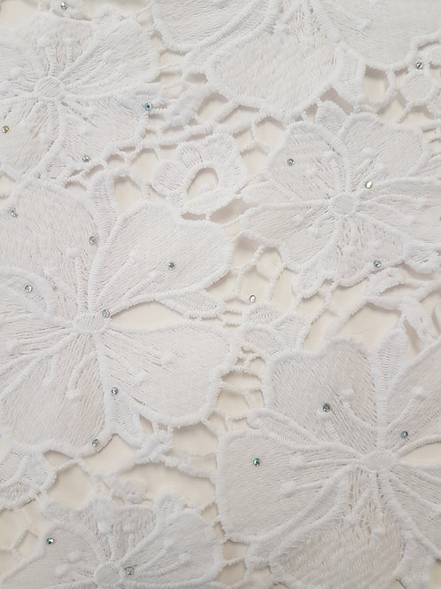 Diamante Scattered Guipure Lace  Off White