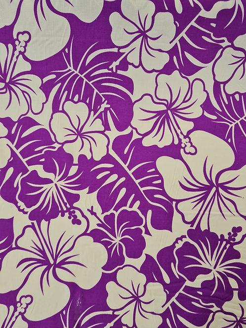 Two Tone Hibiscus Rayon Purple/Cream