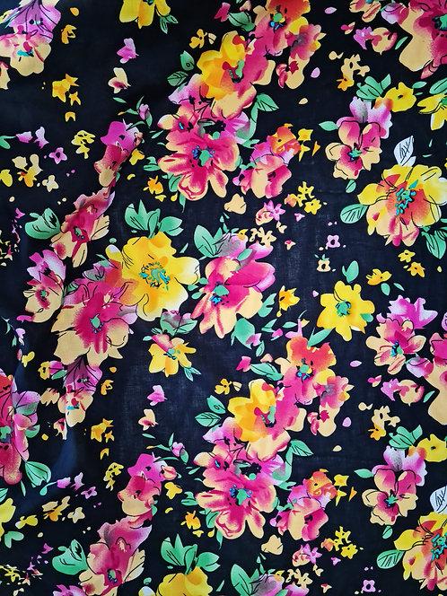 Floral Fiesta Rayon Black