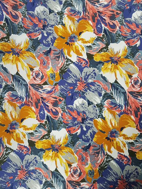 Painted Floral Cotton Lilac/Yellow