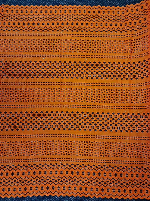 Broderie Anglaise Double Scallop Cotton Orange