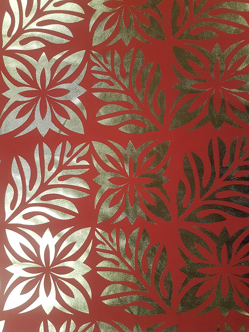 Pacifika Foil Prints Red & Gold