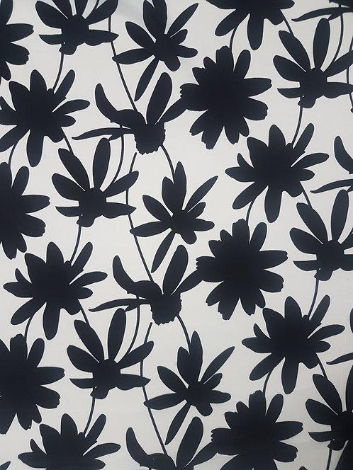 Black & White Floral Rayon