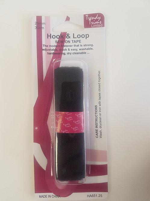 Velcro Hook & Loop Sew On Black