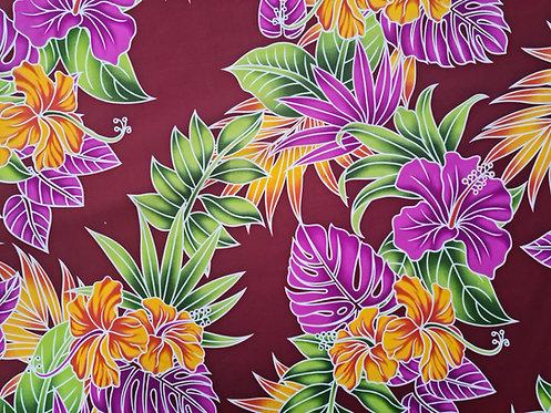 Tropic Bouquet Cotton Print Wine
