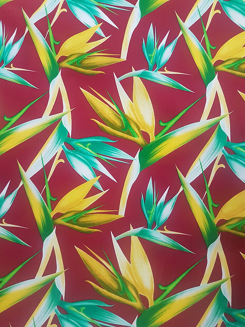 Bird of Paradise Cotton Print Burgandy