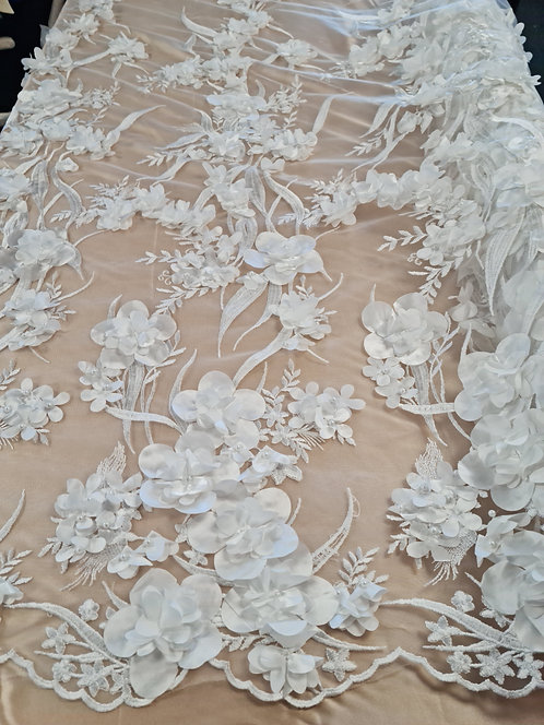 Antonia 3D Satin & Pearl Bordered Tulle Ivory