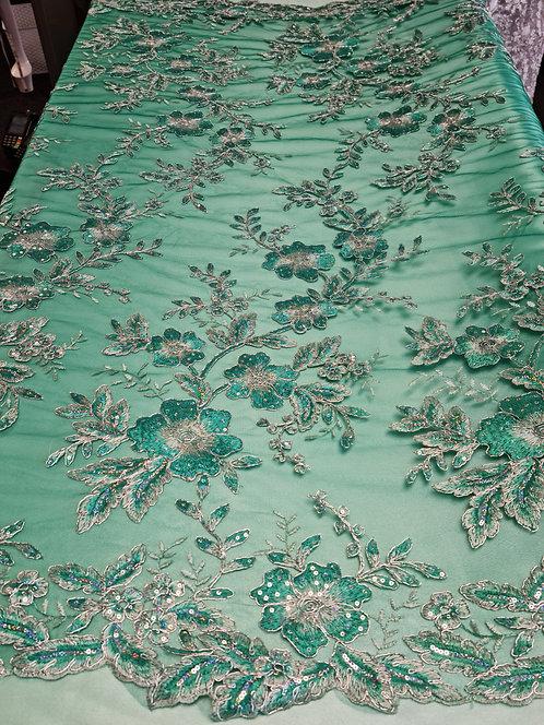 Alexandra Corded & Sequin Tulle Jade/Silver