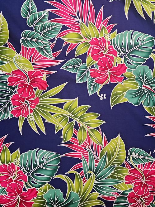 Tropic Bouquet Cotton Print Light Navy