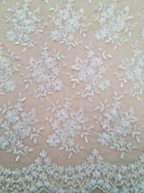 Bouquet Embroidered Tulle Ivory