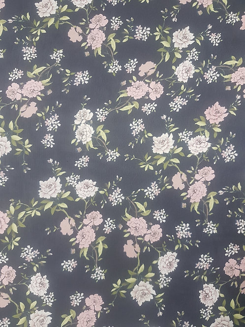 Pink Carnation on Navy Polyester Chiffon