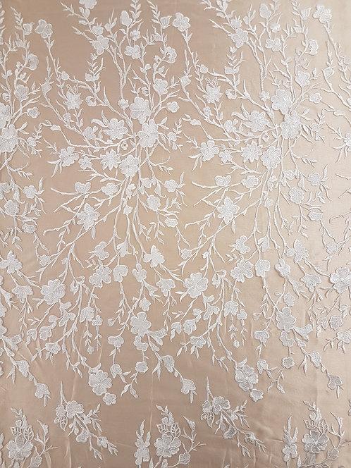 Olivia Embroidered  Tulle Ivory Unbeaded