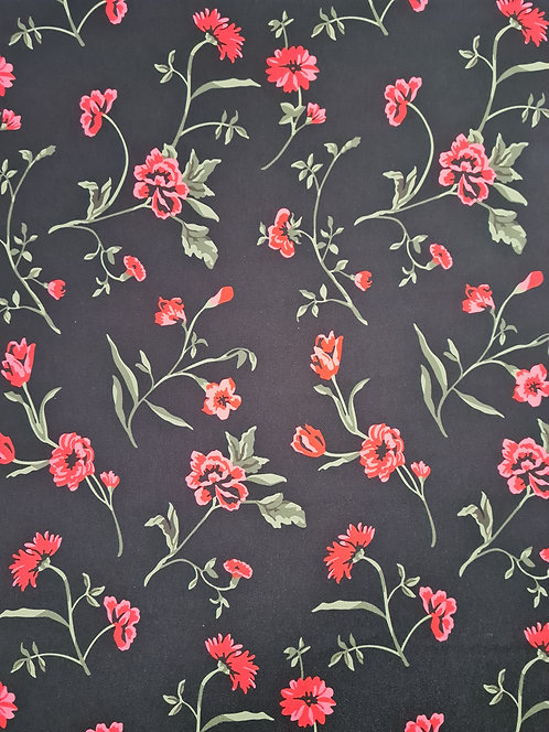 Floating Flowers Polyester Crepe de Chine