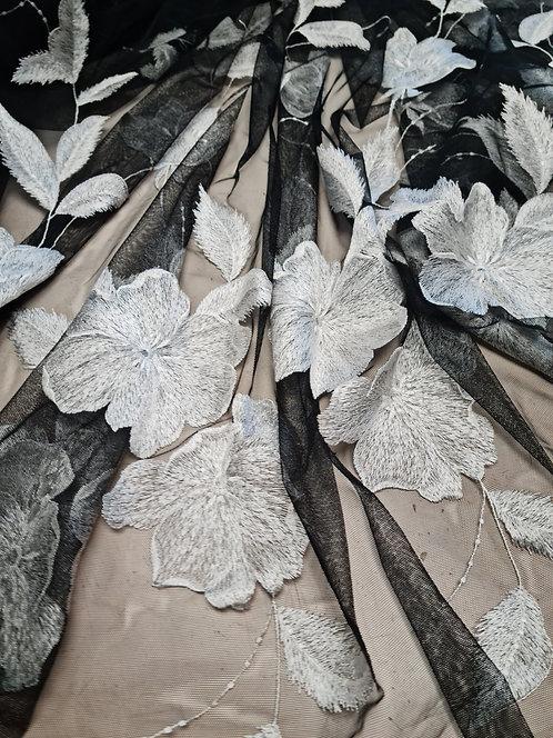 Designer Prints Bordered Embroidered Tulle Black/White