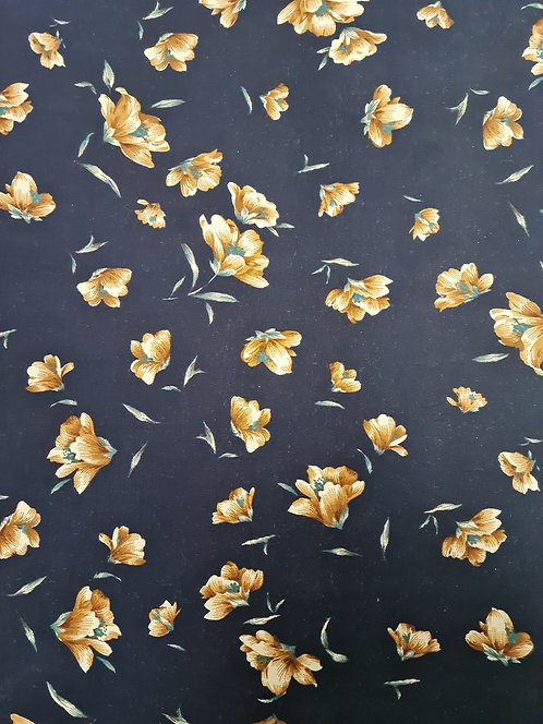 Floating Floral Cotton Sateen Navy