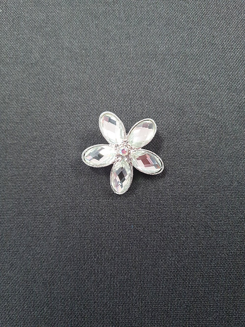 Glass Flower Rhinestone Brooch
