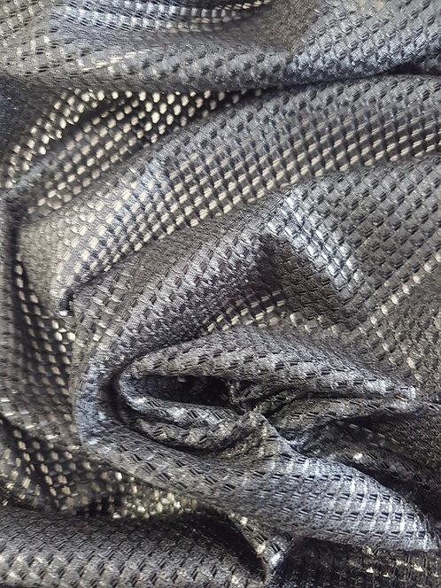 Metallic Cotton Foil Mesh Black