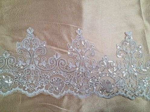 Corded & Sequin Scalloped Trim Ivory