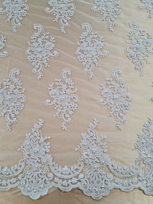 Millie Corded Pearl Tulle White