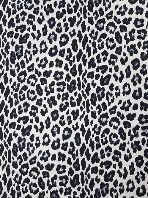 Leopard Cotton Poplin Off White/Black