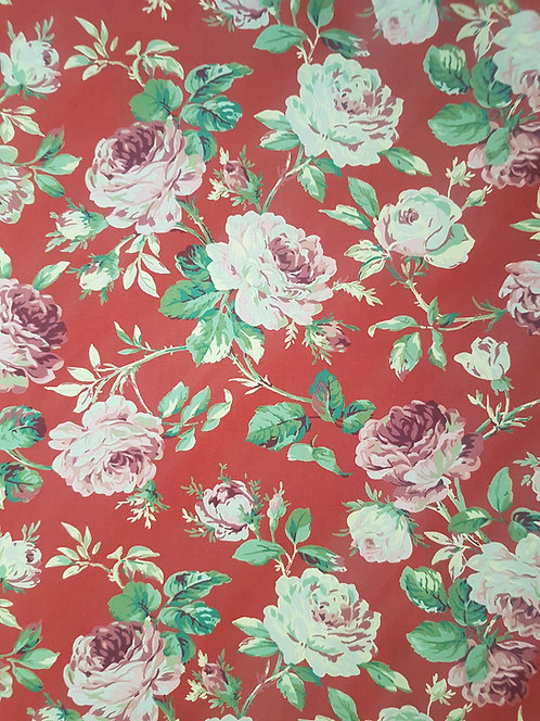 Vintage Rose Cotton Print Wine