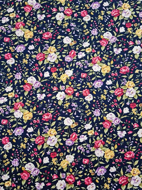 Petite Floral Cotton Poplin Navy